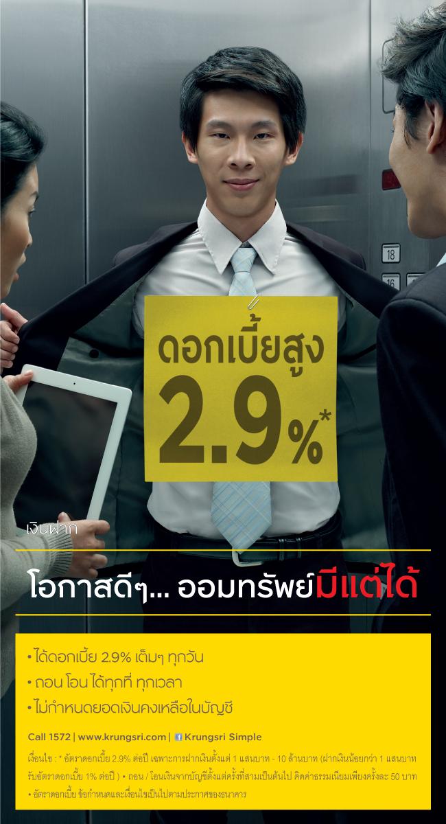 กรุงศรี ออมทรัพย์มีแต่ได้ 2.9%