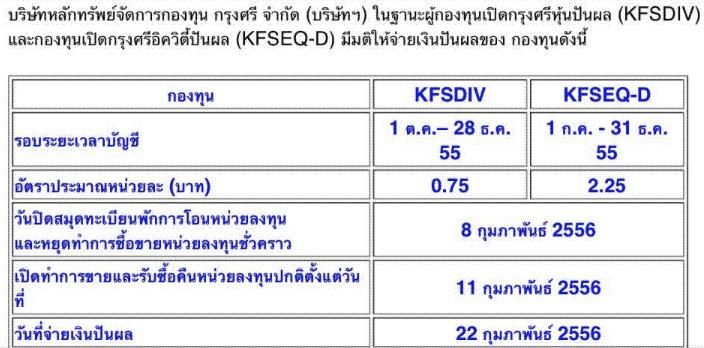 KFSDIV ปันผล 0.75 XD 8 ก.พ. 56