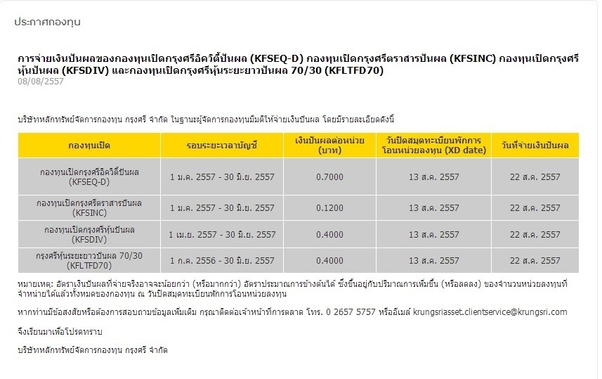 KFSDIV ปันผล 0.4  XD 13 ส.ค. 57 จ่าย 22 ส.ค. 57